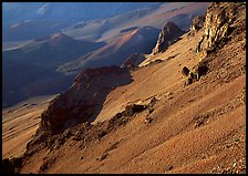 Haleakala crater slopes and cinder cones at sunrise. Haleakala National Park, Hawaii, USA.