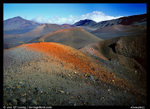 Colorful cinder in Haleakala crater from Sliding sands trail. Haleakala National Park (color)