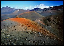 Brightly colored  cinder in Haleakala crater from Sliding sands trail. Haleakala National Park, Hawaii, USA. (color)