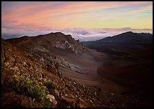 Haleakala crater and clouds at sunrise. Haleakala National Park, Hawaii, USA.