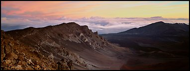 Crater and sea of clouds at sunrise. Haleakala National Park, Hawaii, USA.