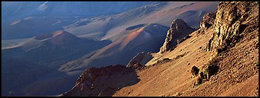 Volcanic landscape inside Haleakala Crater. Haleakala National Park (Panoramic color)