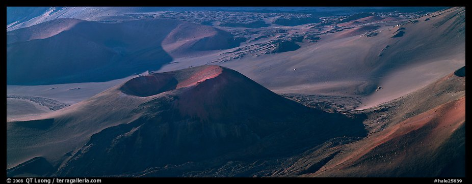 Volcanic landforms with cinder cones. Haleakala National Park (color)