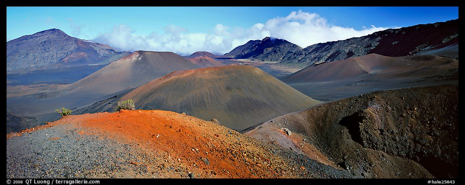 Volcanic scenery with colorful ash inside Haleakala crater. Haleakala National Park (color)