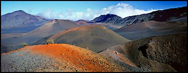 Volcanic scenery with colorful ash inside Haleakala crater. Haleakala National Park, Hawaii, USA.