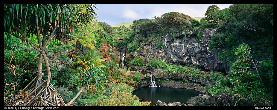 Tropical landscape with pools and waterfalls. Haleakala National Park (color)
