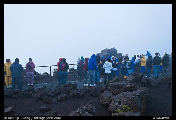 Tourists waiting for sunrise. Haleakala National Park (color)