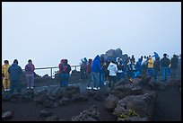Visitors waiting for sunrise. Haleakala National Park, Hawaii, USA.