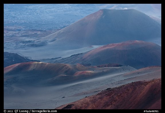 Cinder cones within Halekala crater. Haleakala National Park (color)