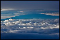 Mauna Kea between clouds, seen from Halekala summit. Haleakala National Park, Hawaii, USA. (color)
