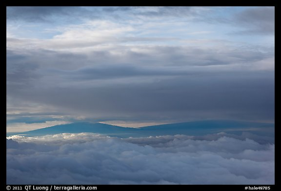 Mauna Kea and Mauna Loa between clouds. Haleakala National Park (color)