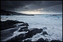 Storm and surf, Kipahulu. Haleakala National Park, Hawaii, USA.