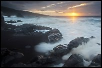 Kuloa Point stormy sunrise. Haleakala National Park, Hawaii, USA.