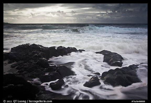 Waves breaking on volcanic rocks. Haleakala National Park (color)