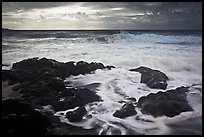 Waves breaking on volcanic rocks. Haleakala National Park, Hawaii, USA. (color)