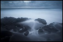 Long exposure of ocean and rocks, Kuloa Point. Haleakala National Park, Hawaii, USA.