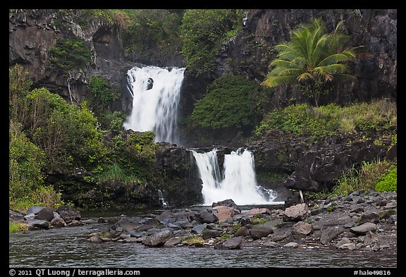 Waterfalls during high water,  Seven Sacred Pools. Haleakala National Park (color)
