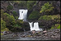 Waterfalls during high water,  Seven Sacred Pools. Haleakala National Park, Hawaii, USA. (color)