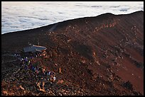 First light hits visitor center on Halekala summit. Haleakala National Park, Hawaii, USA.