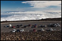Parking lot, Halekala Crater summit. Haleakala National Park, Hawaii, USA.