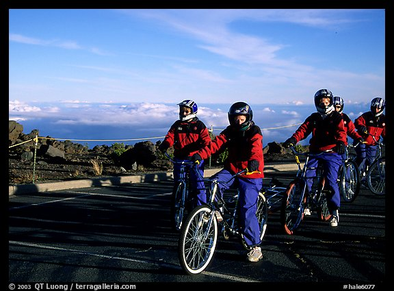Getting ready to ride bicycles down from the top of the Crater to sea level. Haleakala National Park (color)