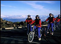 Getting ready to ride bicycles down from the top of the Crater to sea level. Haleakala National Park ( color)
