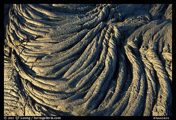 Rope-like hardened pahoehoe lava. Hawaii Volcanoes National Park (color)