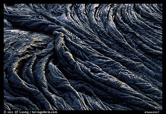 Pattern of fabric-like hardened pahoehoe lava. Hawaii Volcanoes National Park (color)