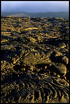 Hardened lava flow and Kaena Point. Hawaii Volcanoes National Park, Hawaii, USA.
