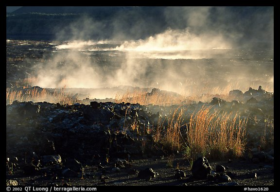 Fumeroles and lava near Halemaumau. Hawaii Volcanoes National Park, Hawaii, USA.