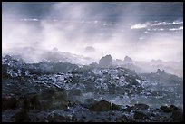 Fumeroles and hardened lava, early morning. Hawaii Volcanoes National Park, Hawaii, USA. (color)
