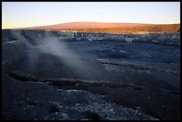 Halemaumau crater overlook and Mauna Loa, sunrise. Hawaii Volcanoes National Park, Hawaii, USA. (color)