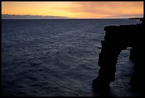 Holei sea arch at sunset. Hawaii Volcanoes National Park, Hawaii, USA. (color)