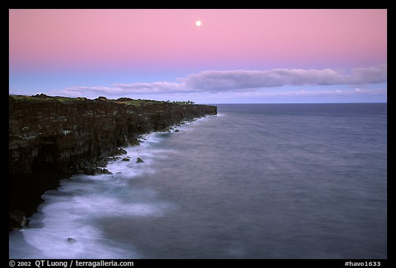 Holei Pali cliffs and moon at dusk. Hawaii Volcanoes National Park (color)