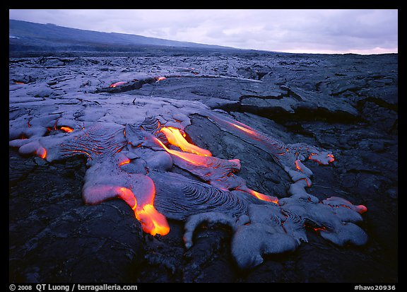 Molten lava flow near Chain of Craters Road. Hawaii Volcanoes National Park, Hawaii, USA.