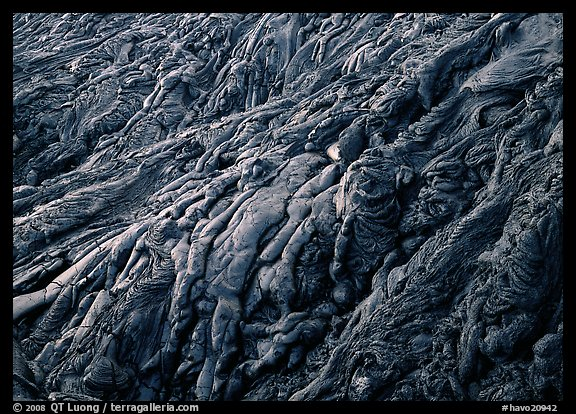 Ripples of hardened pahoehoe lava. Hawaii Volcanoes National Park (color)