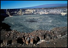 Crack, Halemaumau crater overlook,  Mauna Loa, early morning. Hawaii Volcanoes National Park, Hawaii, USA.