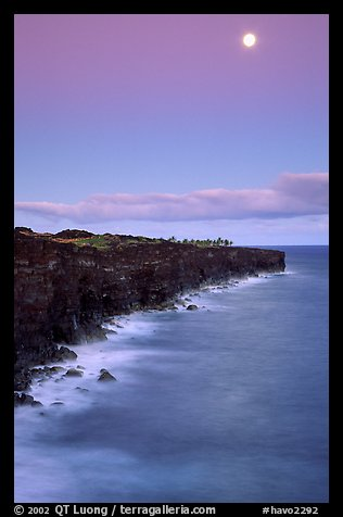 Holei Pali volcanic cliffs and moon at dusk. Hawaii Volcanoes National Park (color)