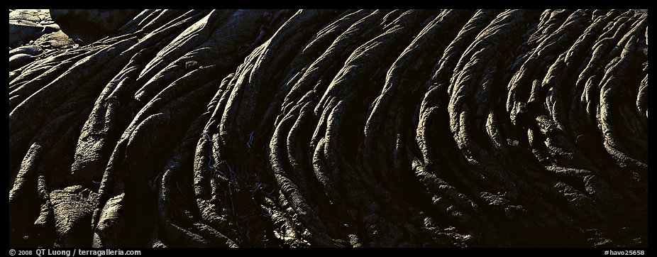 Hardened rope lava riples. Hawaii Volcanoes National Park (color)