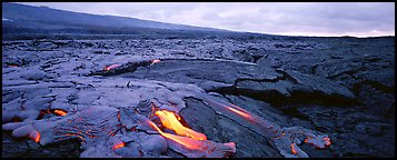 Volcanic landscape with molten lava low. Hawaii Volcanoes National Park, Hawaii, USA.
