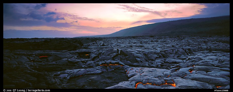 Landscape with red lava flow at sunset. Hawaii Volcanoes National Park (color)