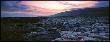 Landscape with red lava flow at sunset. Hawaii Volcanoes National Park, Hawaii, USA.