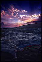 Live lava flow on coastal plain sunset. Hawaii Volcanoes National Park, Hawaii, USA. (color)