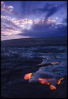 Kilauea lava flow at sunset. Hawaii Volcanoes National Park, Hawaii, USA.