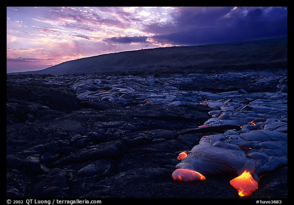 Live lava advancing at sunset. Hawaii Volcanoes National Park, Hawaii, USA.