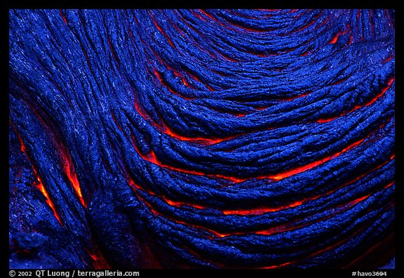 Ripples of hot  pahoehoe lava. Hawaii Volcanoes National Park (color)