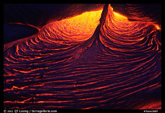 Close-up of red lava at night. Hawaii Volcanoes National Park, Hawaii, USA.