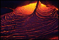 Close-up of red lava at night. Hawaii Volcanoes National Park, Hawaii, USA. (color)