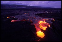 Kilauea lava flow at dawn. Hawaii Volcanoes National Park, Hawaii, USA. (color)