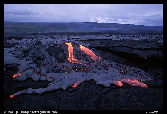 Molten lava flow at dawn on coastal plain. Hawaii Volcanoes National Park (color)